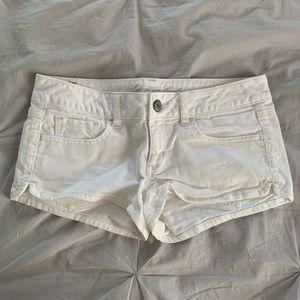 White denim short shorts